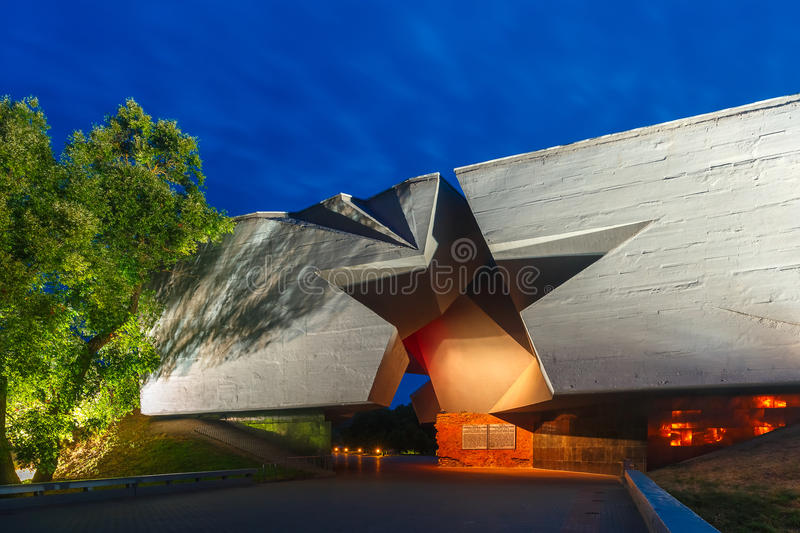 Entrance to Brest fortress at night, Belarus stock photos