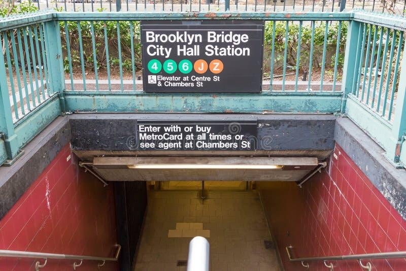 Entrance to Brooklyn Bridge City Hall Subway Station in New York. NEW YORK CITY – CIRCA 2016: The entrance to the Brooklyn Bridge City Hall subway station stock image
