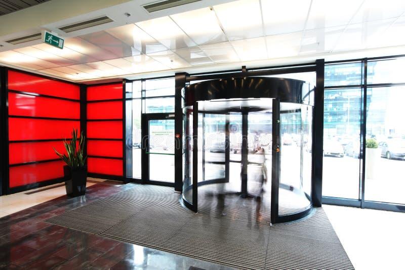Entrance to the business center. Empty entrance to the business center with red wall royalty free stock photos