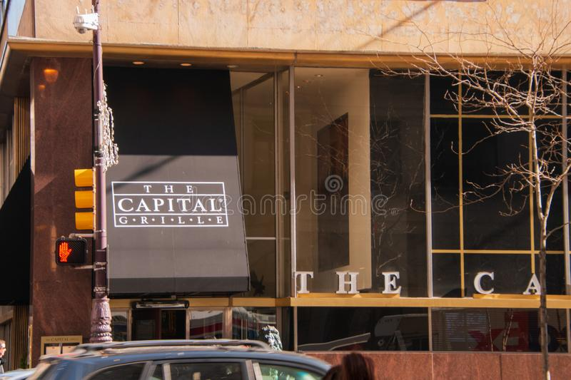 This entrance to the Capital Grill restaurant is located in center city Philadelphia as seen on this date stock photos