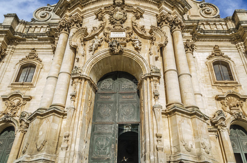 Entrance to the cathedral of modica sicily stock images
