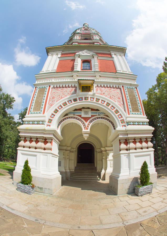 Entrance to the Cathedral the Nativity of Christ on Shipka in Bulgaria stock photography