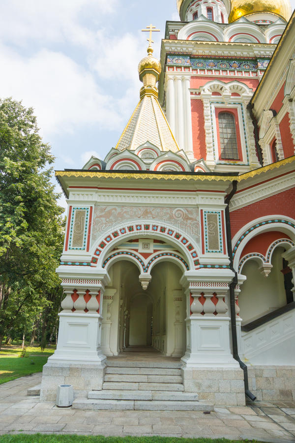 Entrance to the Cathedral the Nativity of Christ on Shipka stock photo