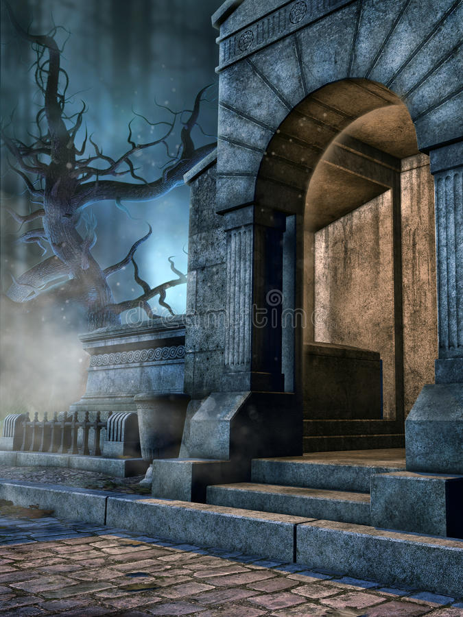 Entrance to a cemetery crypt. Entrance to an old cemetery crypt in a dark, gothic graveyard stock illustration