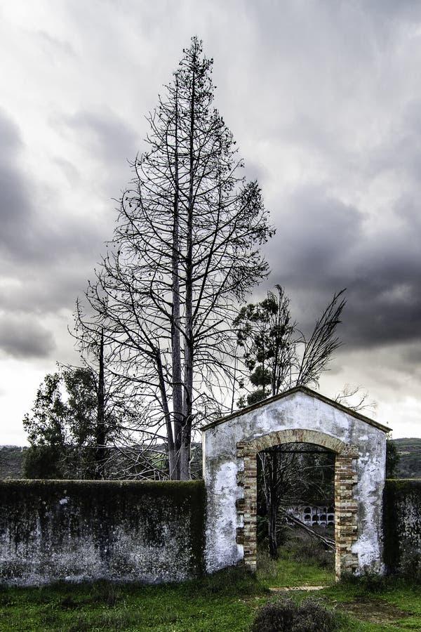 Entrance to cemetery stock photos