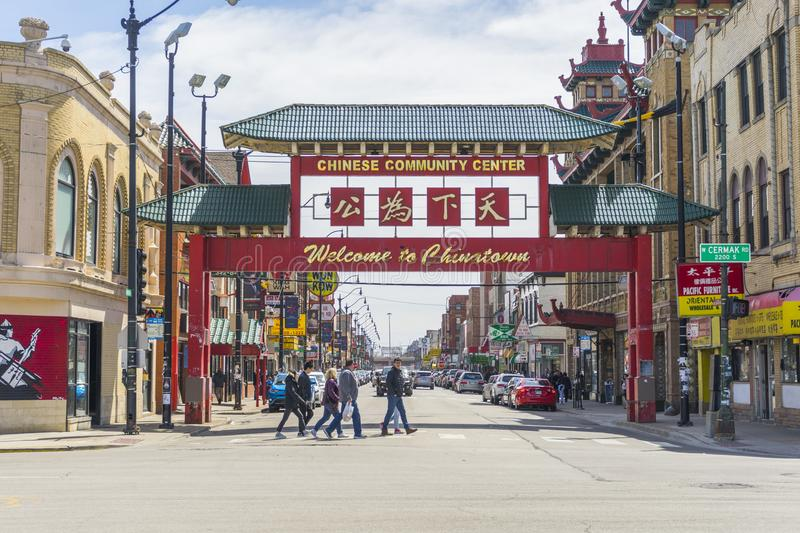 The entrance to Chicago`s Chinatown stock photography
