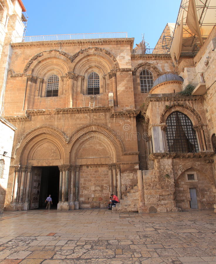 Entrance to the Church of the Holy Sepulchre. The entrance in the courtyard of the Church of the Holy Sepulchre or Church of the Resurrection or Church of the royalty free stock images