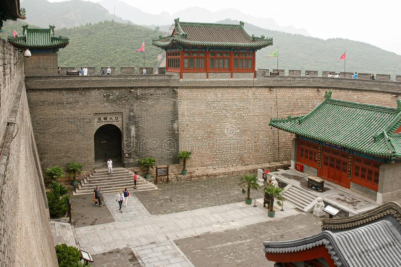 Entrance to climb the Great Wall of China royalty free stock images
