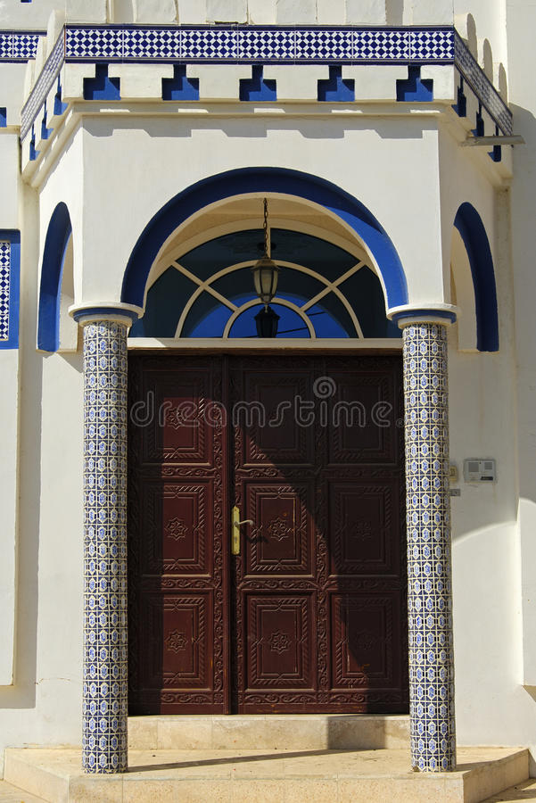 Entrance to a contemporary residential house. In the Arab style, Sur, Sultanate of Oman royalty free stock photography