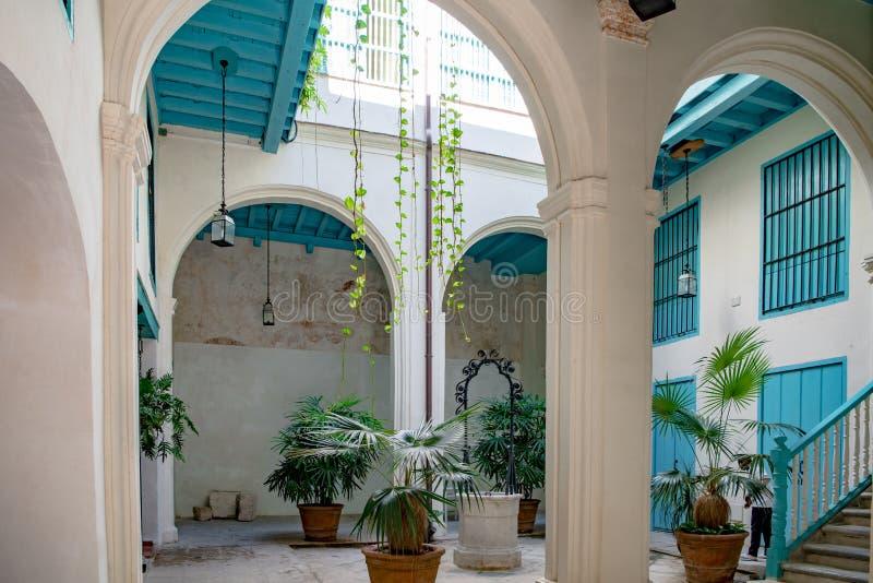 Entrance to courtyard of former Palace, Palatial Building, Havana, Cuba stock photos