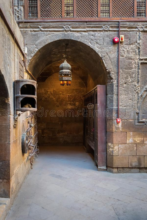 Entrance to courtyard of Gayer Anderson historic house, adjacent to Mosque of Ahmad ibn Tulun, Cairo, Egypt. Entrance to courtyard of Bayt el Kredlea, also knows royalty free stock photography
