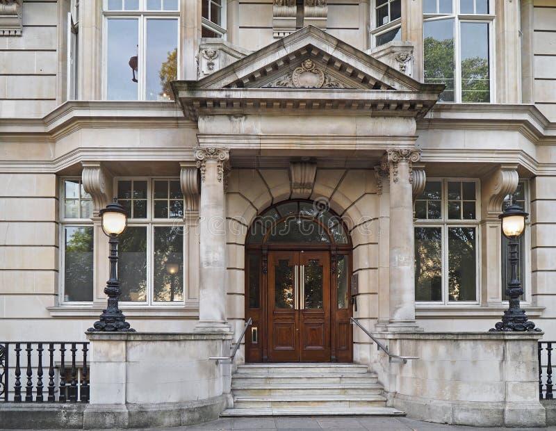 Entrance to elegant townhouse stock images