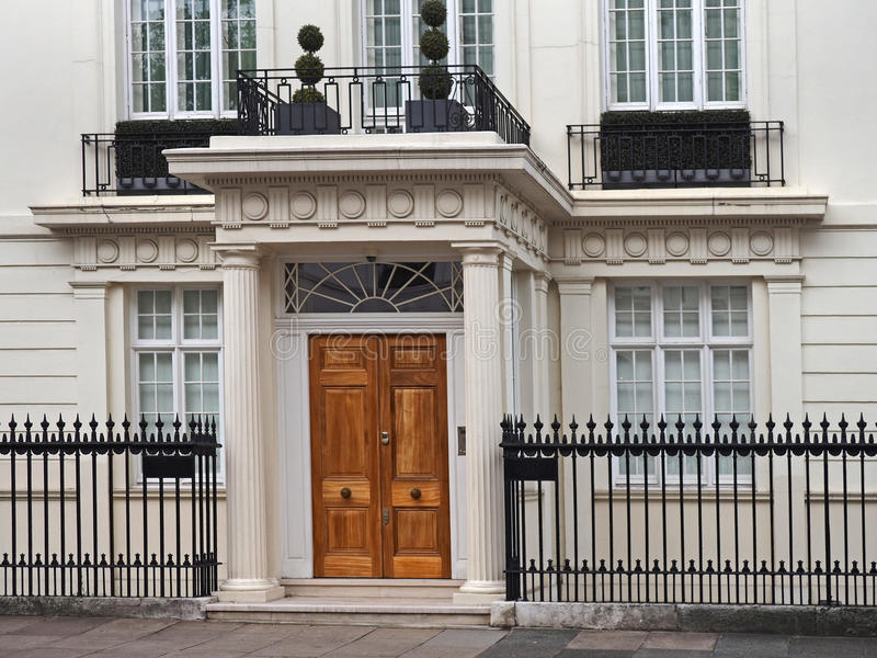 Entrance to elegant townhouse stock photo