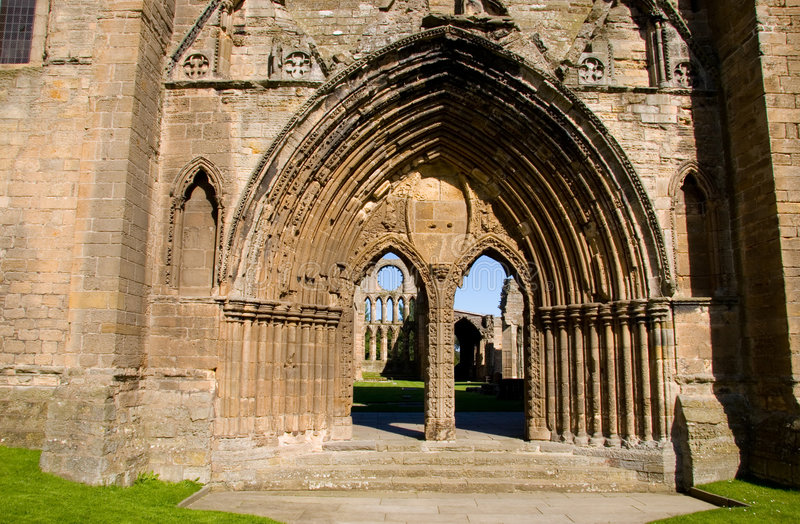 Entrance to Elgin Cathedral stock photos