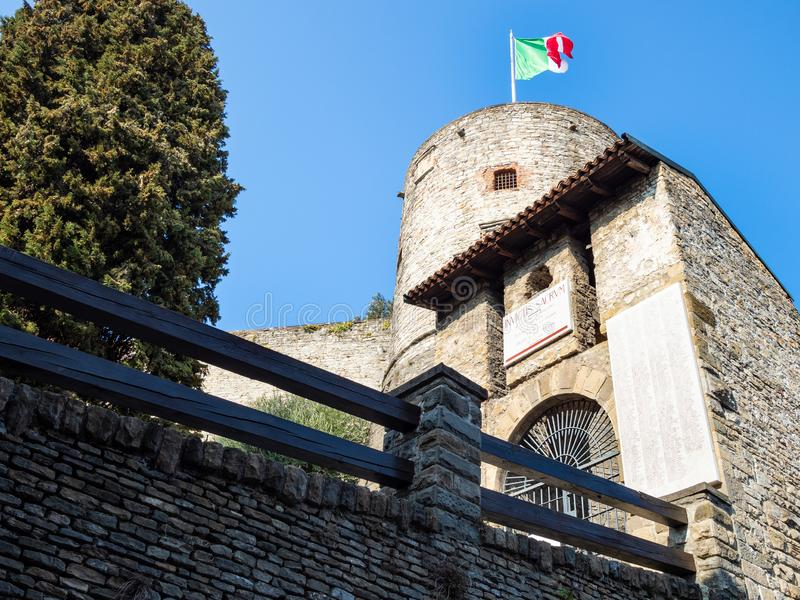 Entrance to fortress Rocca di Bergamo stock images