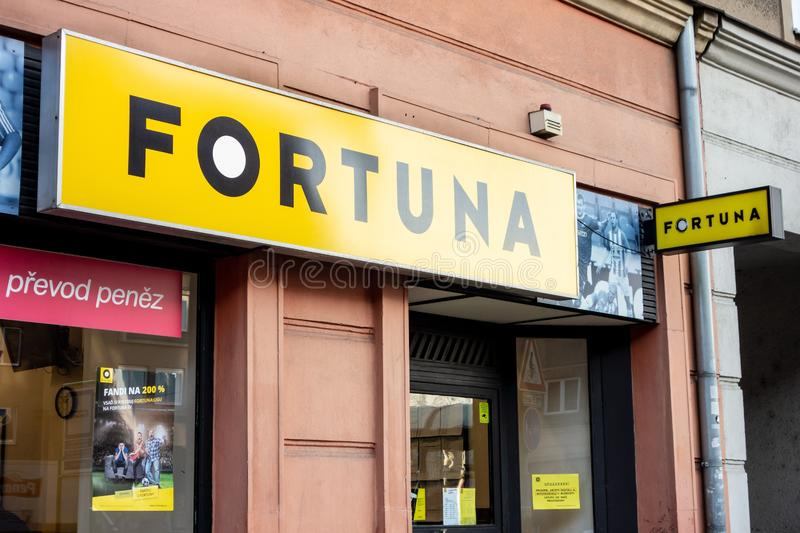 The entrance to the Fortuna Czech betting company where gamers can bet their money on sports events and win or losey their fortune stock photos