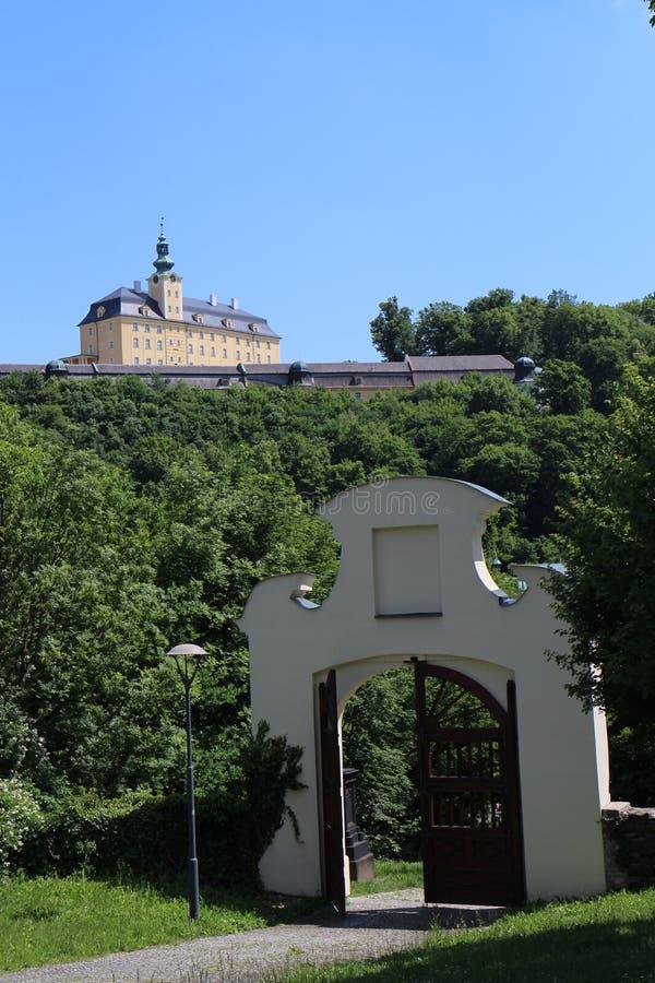 Entrance to garden of Chapel of St. Roch and Sebestian in Fulnek. Czech republic royalty free stock photography
