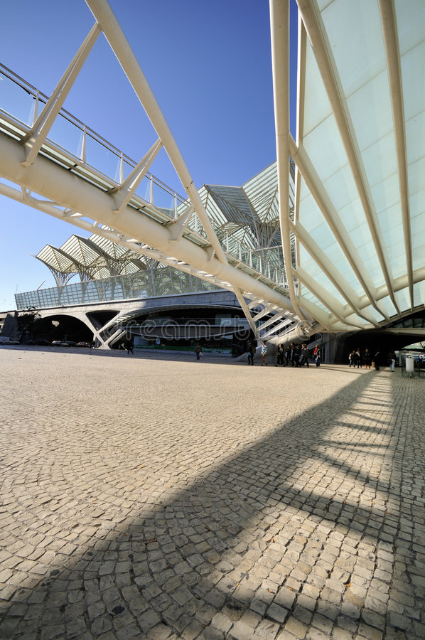 Entrance to Gare do Oriente, Lisbon. Gare do Oriente is one of the main transport hubs in Lisbon, Portugal. It was designed by Santiago Calatrava and built by royalty free stock images