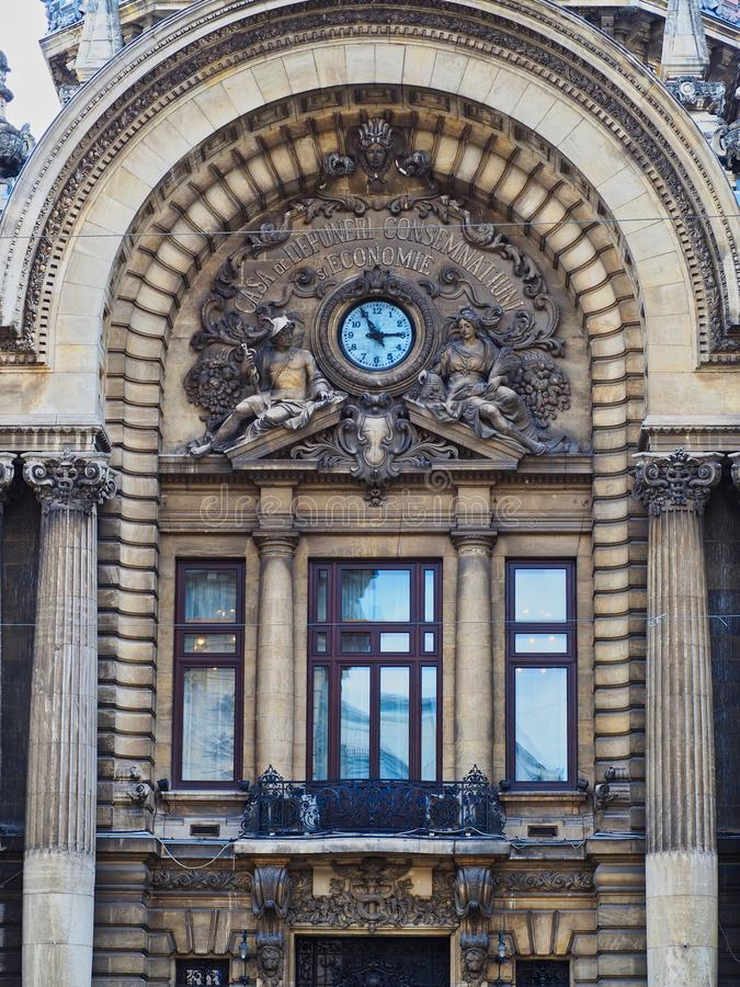 Entrance to Grand Bucharest Commercial Building, Romania stock image