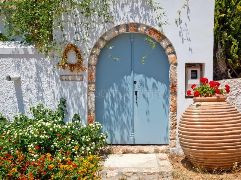 Entrance To Greek House Stock Photo