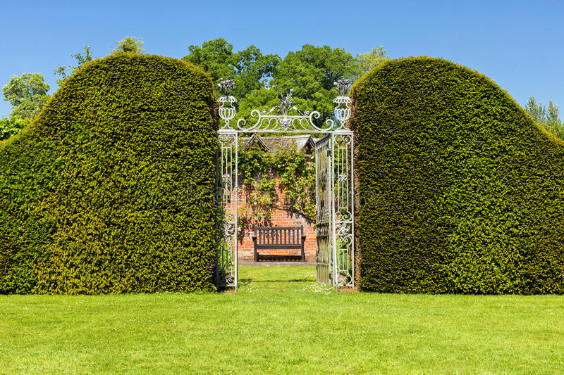 Entrance through Privet Hedge to Hampton Court Castle`s Walled Garden, Herefordshire, England. stock image