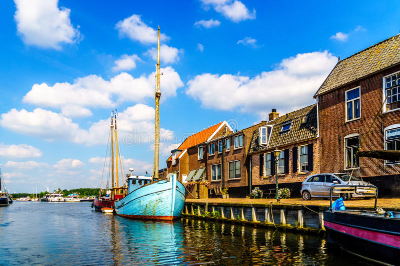 Entrance to the Harbor of the Historic Fishing Village of Bunschoten-Spakenburg. In the Netherlands stock photography