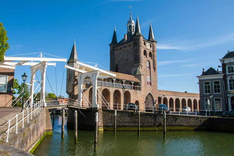 Zierikzee Harbour 1. The entrance to the harbour in Zierikzee, Netherlands. Now a harbour for pleasure boats royalty free stock photos