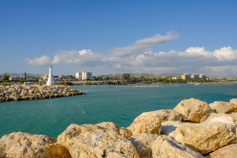 Entrance To The Harbour At Zygi Cyprus Stock Photo