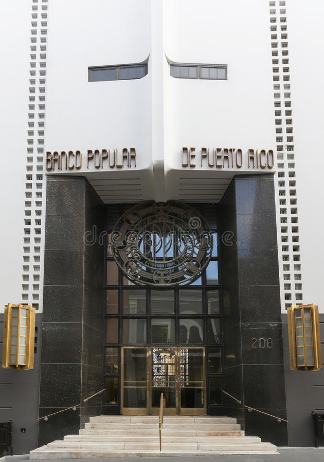 Entrance to headquarters Banco Popular of Puerto Rico. royalty free stock image