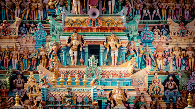 Entrance to the Hindu Temple South India Gopuram stock photos