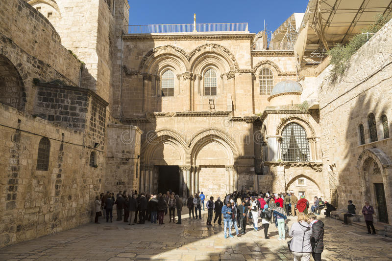 Entrance to Holy Sepulchre Church in Jerusalem stock image