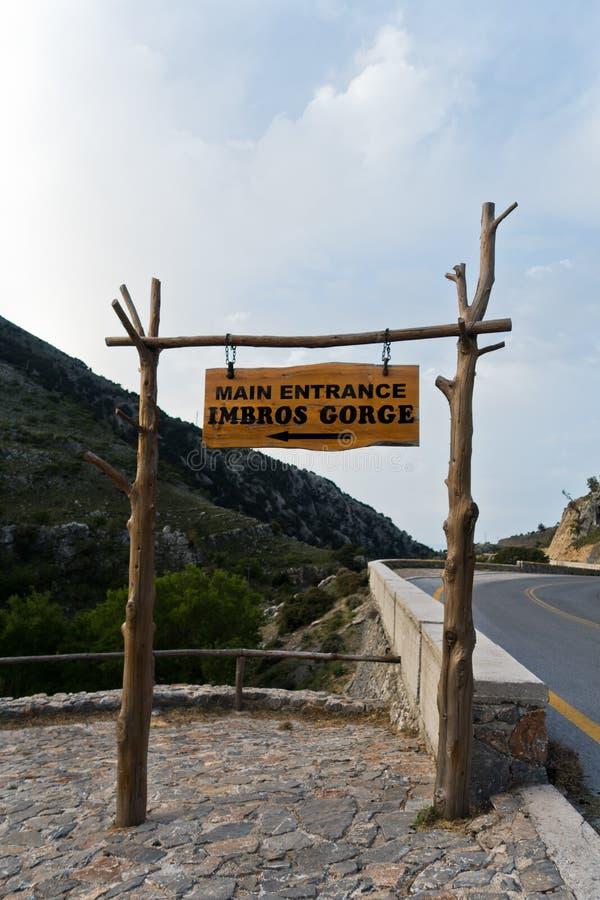 Entrance to Imbros gorge near Chora Sfakion, island of Crete. Greece royalty free stock image
