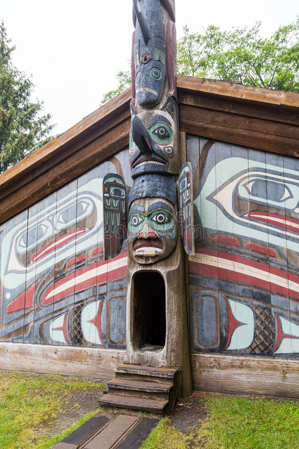 Entrance to Inuit Lodge. Ancient Inuit Totem Lodge in Alaska stock photos