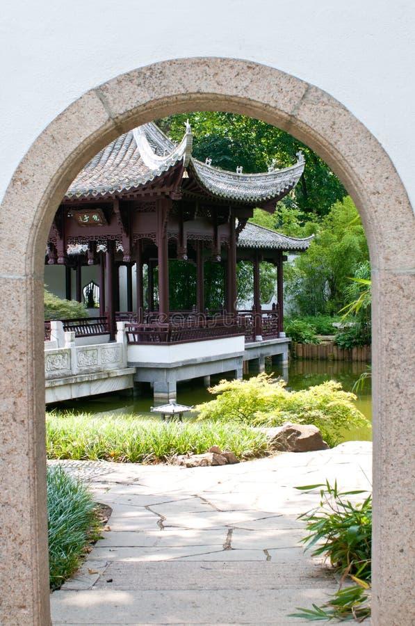 Entrance to the Japanese garden royalty free stock photos