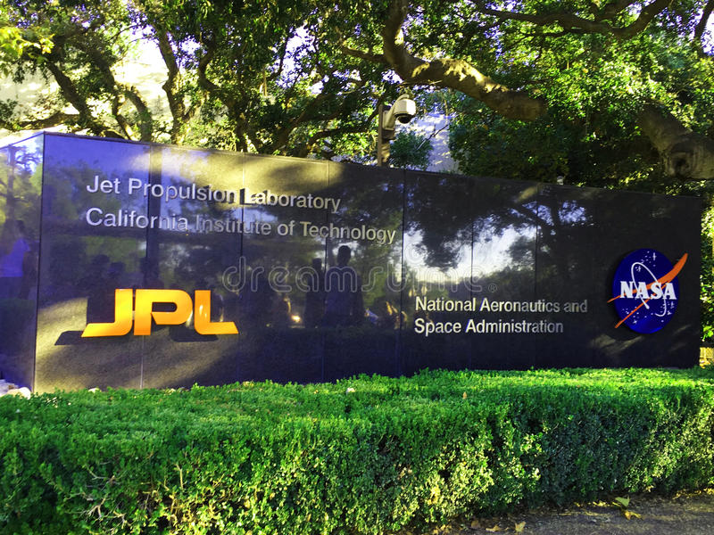 Entrance to Jet Propulsion Lab stock photos