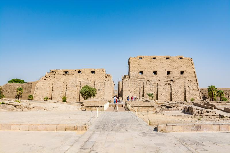 Entrance to the Karnak Temple in Luxor, ancient Thebes, Egypt stock photography