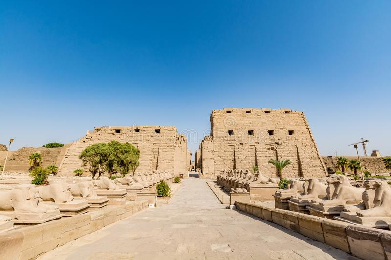 Entrance to the Karnak Temple in Luxor, ancient Thebes, Egypt. Karnak Temple located in Luxor, ancient Thebes, Egypt. It is one of the most visited landmarks in royalty free stock photo