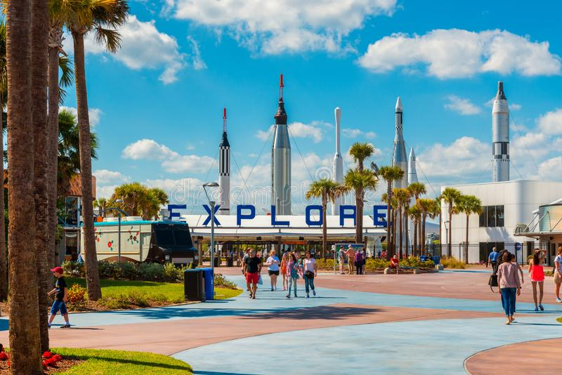 Entrance to Kennedy Space Center in Cape Canaveral Florida stock photos