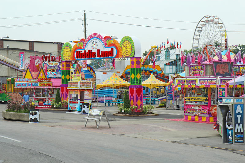 Entrance to Kiddie Land at the Indiana State Fair in Indianapolis. INDIANAPOLIS, INDIANA � AUGUST 19: Entrance to Kiddie Land and rides on the Midway of the stock photography