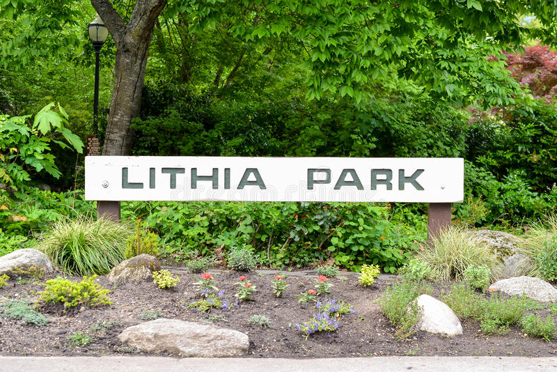 Entrance to the Lithia Park royalty free stock photography