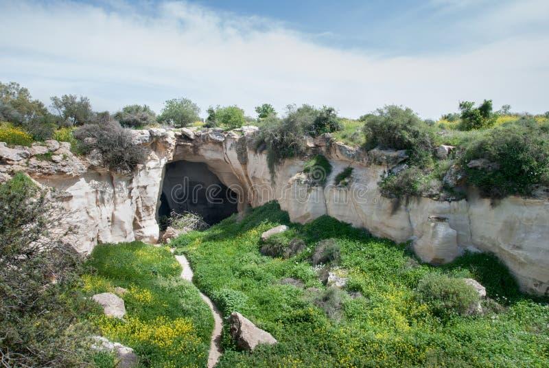 The entrance to Luzit Caves. Moshav Luzit, Ella Valley royalty free stock photo