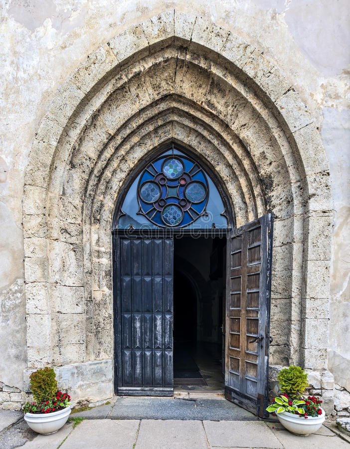 Entrance to medieval church in Cesis city, Latvia, Europe stock images