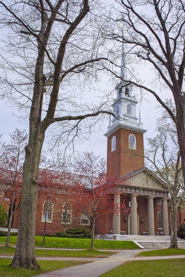 Entrance to Memorial Church in Harvard Yard stock image