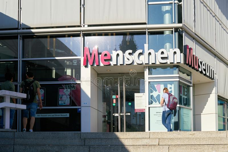 Entrance to the Menschen Museum by Gunther von Hagens at Alexanderplatz in Berlin. royalty free stock images