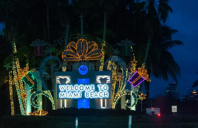 Welcome to Miami Beach. The entrance to Miami Beach. Shot while in an extreme traffic jam royalty free stock image