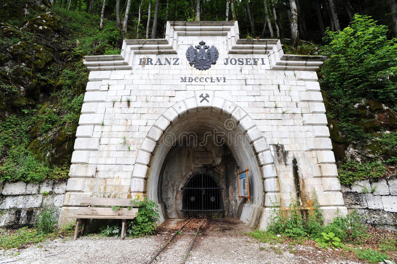 Entrance to the mine, Hallstatt stock photos