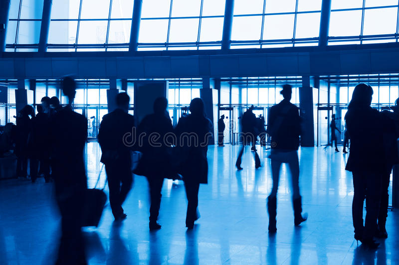 Entrance To Modern Building And People Silhouettes Royalty Free Stock Photos