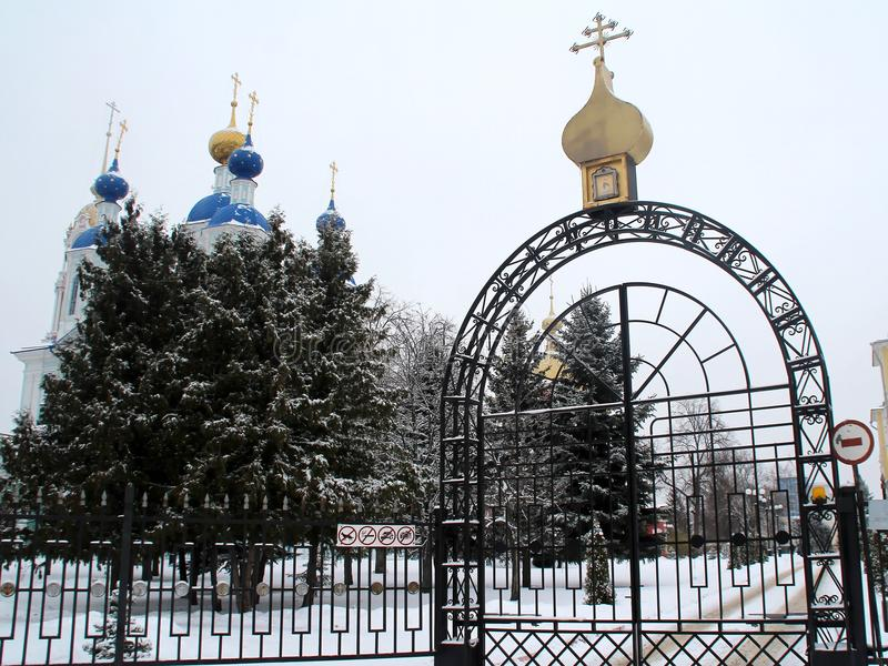 Entrance to the monastery. A stroll through the Tambov. Russian Federation. December 18, 2016 stock photo