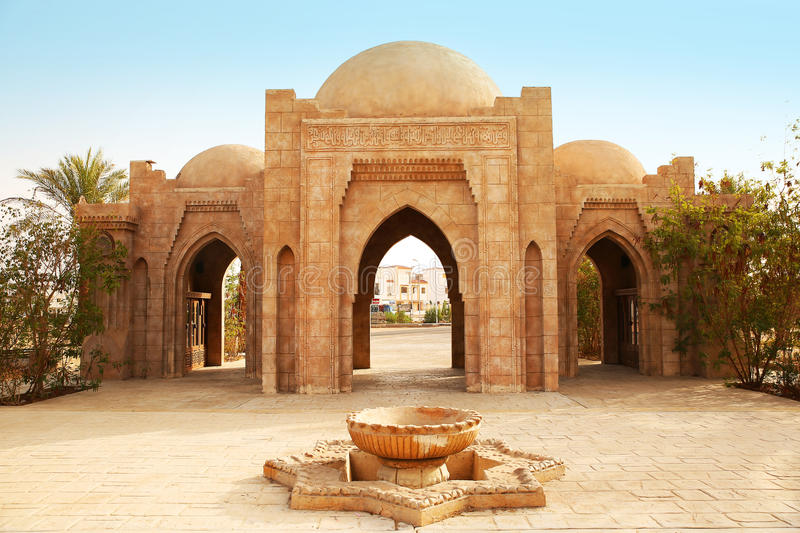 Entrance to the Mosque Al-Mustafa in Sharm-El-Sheikh. Egypt stock images