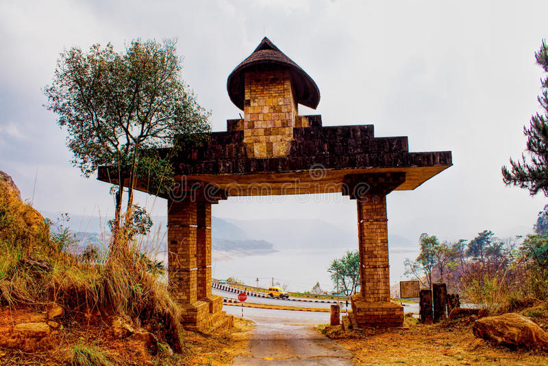Entrance to The Mount Of Heaven's Navel- Lum Sohpet Bneng, Shillong, East Khasi Hills District, Meghalaya India. stock photography
